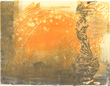 Golden Morning, monotype with chine colle, by Mary Gow [SOLD]