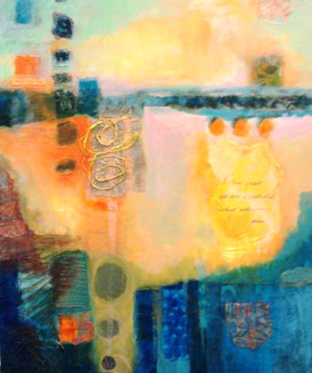 """""""Enthusiasm,"""" mixed media, 20 x 28, by Mary Gow"""