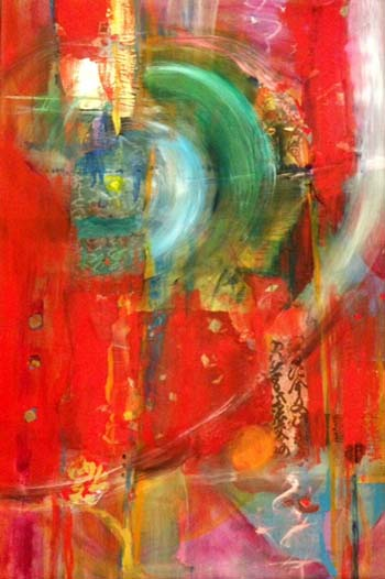 Emerging, mixed media painting, 24 x 36, by Mary Gow