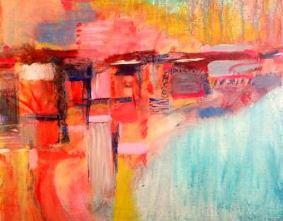 """""""Lakehouse,"""" acrylic on canvas, 16 x 20, by Mary Gow"""